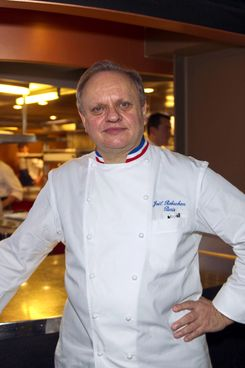 French chef Jo?l Robuchon poses on February 1, 2011 after a press conference of France's culinary college at the restaurant 58 at the Eiffel tower in Paris. Fifteen of French most famous chefs are calling for the support of the government to French cuisine facing competition with other countries helped in their promotion. AFP PHOTO BERTRAND LANGLOIS (Photo credit should read BERTRAND LANGLOIS/AFP/Getty Images)
