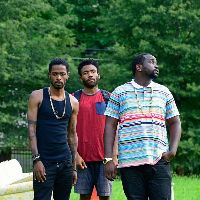 "ATLANTA -- ""The Big Bang"" -- Episode 101 (Airs Tuesday, September 6, 10:00 pm e/p) Pictured: (l-r) Keith Standfield as Darius, Donald Glover as Earnest Marks, Brian Tyree Henry as Alfred Miles. CR: Guy D'Alema/FX"