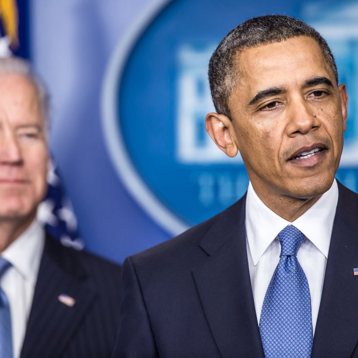 U.S. President Barack Obama makes a statement alongside U.S. Vice President Joseph R. Biden (L) in the White House Briefing Room following passage by the House of tax legislation on January 1, 2013 in Washington, DC. The House and Senate have now both passed the legislation, averting the so-called fiscal cliff.