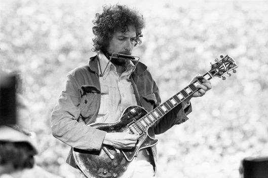 Singer/Songwriter Bob Dylan Performs at Kezar Stadium