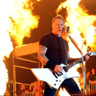 INDIO, CA - APRIL 23: Musician James Hetfield of Metallica performs onstage during The Big 4 held at the Empire Polo Club on April 23, 2011 in Indio, California. (Photo by Kevin Winter/Getty Images) *** Local Caption *** James Hetfield;