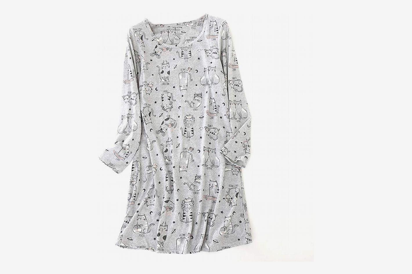 6883d623dc9 ENJOYNIGHT Women s Cotton Sleepwear Long Sleeves Nightgown
