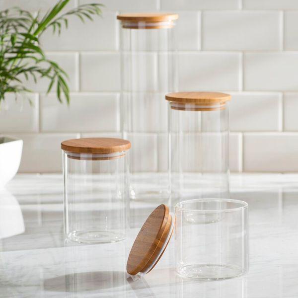 Mint Pantry Clear 4 Piece Storage Jar Set