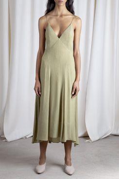 Tove Celise Slip Dress in Cedar Khaki