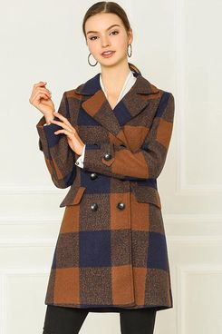 Double Breasted Plaid Coat