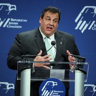 New Jersey Gov. Chris Christie speaks during the luncheon of the Republican Jewish Coalition 2012 Presidential Candidates Forum December 7, 2011 at Ronald Reagan Building and International Center in Washington, DC.