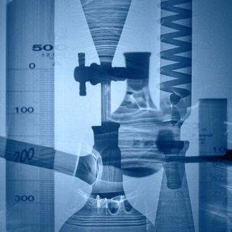 Blue Laboratory Glassware Montage