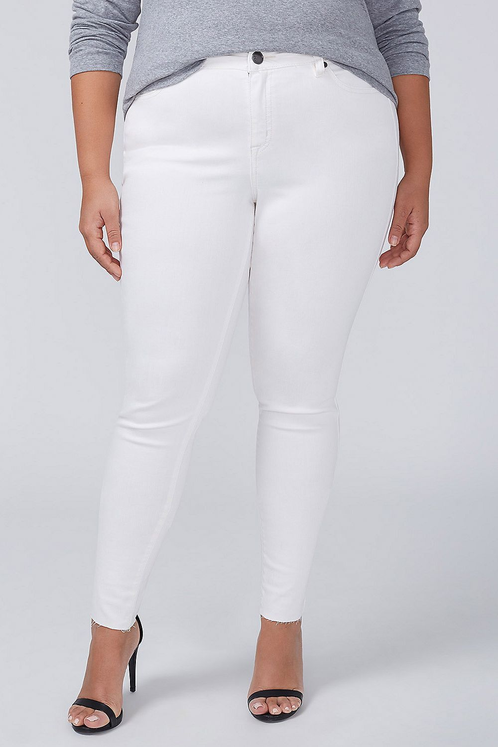 43202ff937798 Best plus-size white jeans. Lane Bryant Power Pockets Super Stretch Skinny  White Ankle Jean