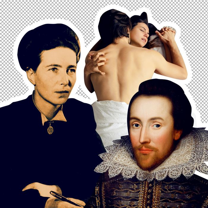 Left to right: Simone de Beauvoir, a couple enjoying the missionary position, William Shakespeare.