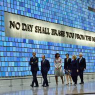 US President Barack Obama, former New York Mayor Michael Bloomberg, US First Lady Michelle Obama, former Secretary of State Hillary Clinton and former US President Bill Clinton tour the National September 11 Memorial & Museum on May 15, 2014 in New York. Obama inaugurated the museum commemorating the September 11, 2001 terrorist attacks.      AFP PHOTO/Jewel Samad        (Photo credit should read JEWEL SAMAD/AFP/Getty Images)