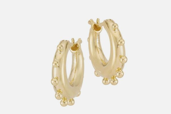 Temple St. Clair Classic Gold Dangle Hoop Earrings