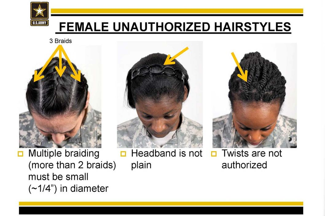The Army's new guidelines on unauthorized hairstyles has minority women in knots. The Army says the guidelines ensure uniformity. Some black soldiers say the requirements are racially biased. The Army's guidelines include restrictions on braid and cornrow widths and a ban on twists and dreadlocks.