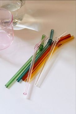 Hay Swirl Glass Sip Straw Set