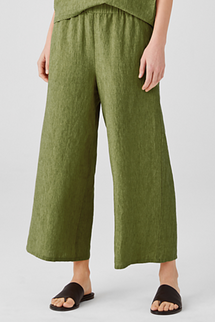 Eileen Fisher Washed Organic Linen Declave Wide-Leg Pant