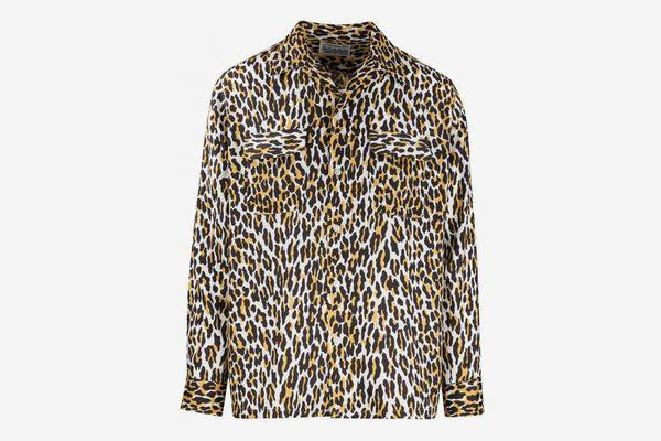 Wacko Maria Leopard Open-Collar Shirt