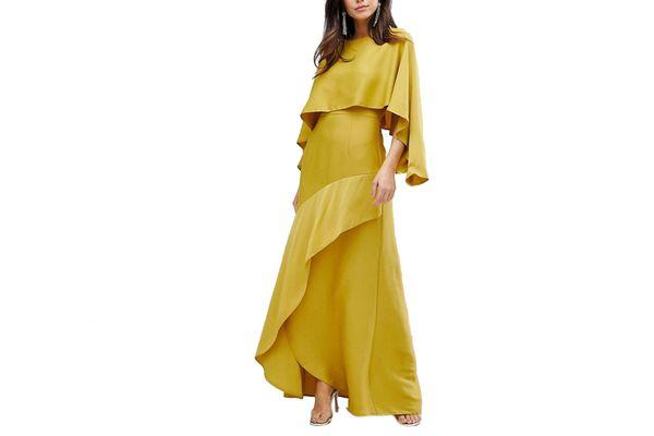 ASOS Long Sleeve Crop Top Satin Maxi Dress
