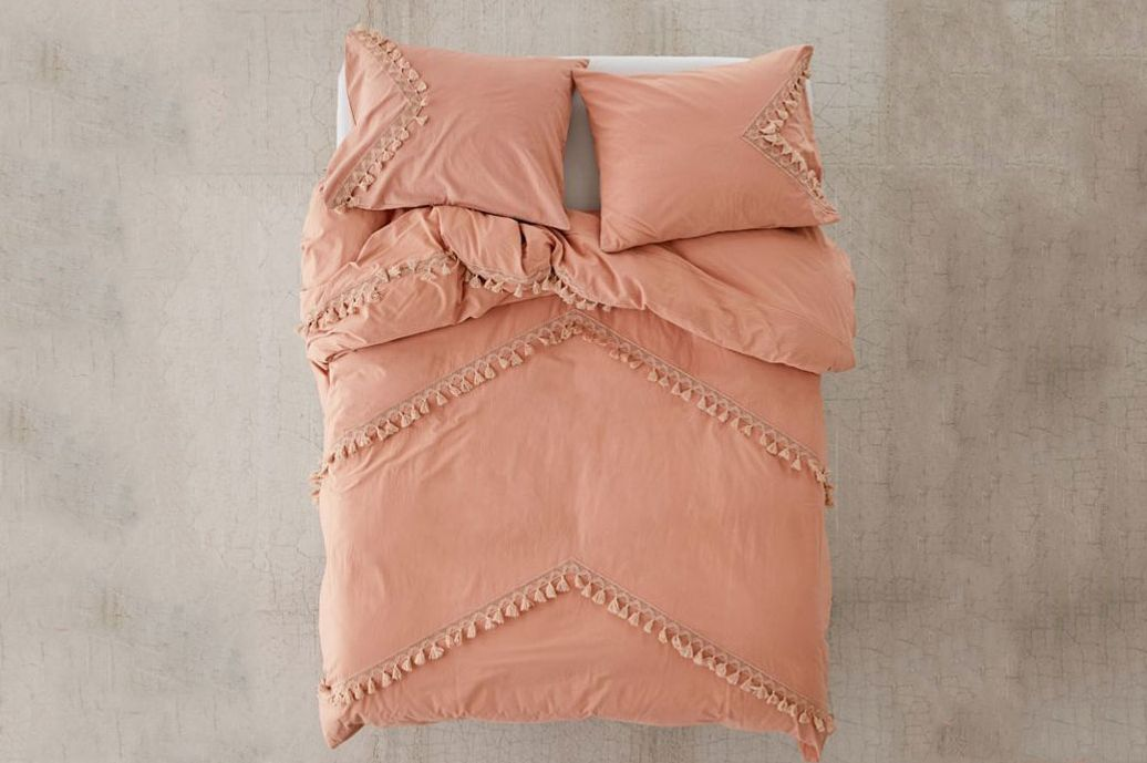 Urban Outfitters Washed Cotton Crochet Tassel Duvet Cover