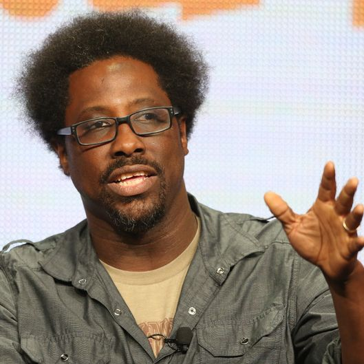 "BEVERLY HILLS, CA - AUGUST 02:  Host/Comic W. Kamau Bell speaks onstage during the ""Totally Biased With W. Kamau Bell"" panel discussion at the FX portion of the 2013 Summer Television Critics Association tour - Day 10 at The Beverly Hilton Hotel on August 2, 2013 in Beverly Hills, California.  (Photo by Frederick M. Brown/Getty Images)"