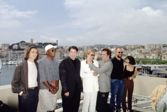 01 May 1994, Cannes, France --- CANNES FESTIVAL: 'PULP FICTION' TEAM --- Image by © Cardinale-Robert/Sygma/Corbis