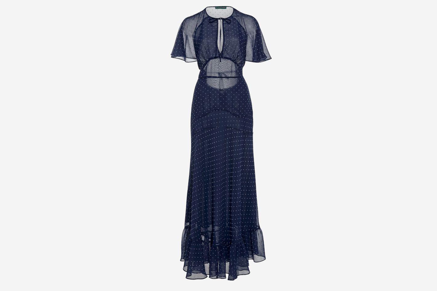 ALEXACHUNG Polka-Dot Chiffon Dress