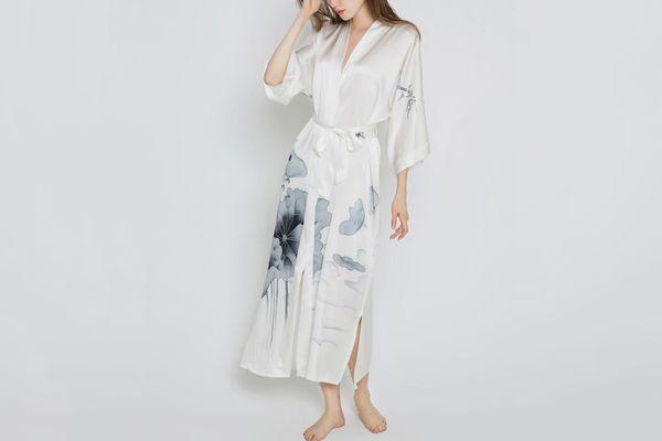 Kim + Ono Hand-painted Lotus Kimono Robe