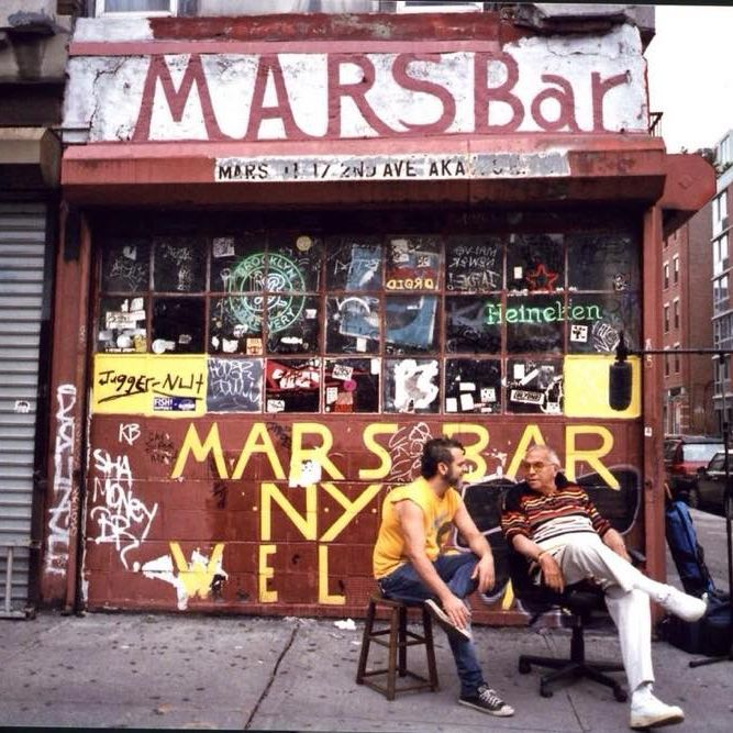 Penza, holding court outside the Mars Bar.
