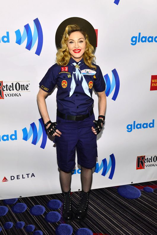 Madonna poses backstage at the 24th Annual GLAAD Media Awards on March 16, 2013 in New York City.