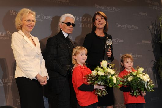 Angelika Diekmann, Karl Lagerfeld and Princess Caroline of Hanover attend  the 'Menschen in Europa' Charity Award at the Media Centre Passau on December 12, 2011 in Passau, Germany.  (Photo by Hannes Magerstaedt/Getty Images)
