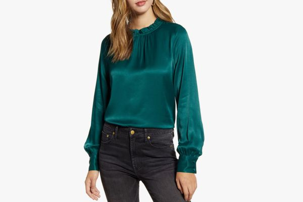 Rachel Parcell Ruffle Neck Satin Blouse