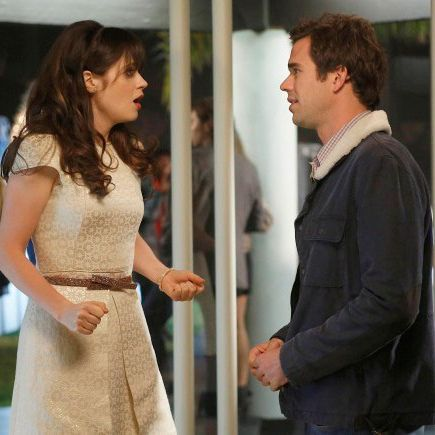 NEW GIRL: Jess (Zooey Deschanel, L) is surprised to run into Sam (guest star David Walton, R) in the