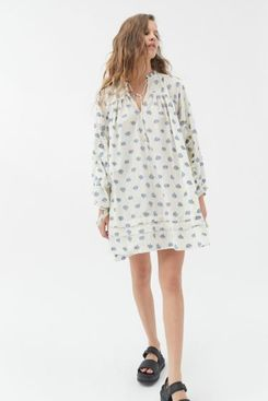 UO Jai Embroidered Long Sleeve Frock Dress
