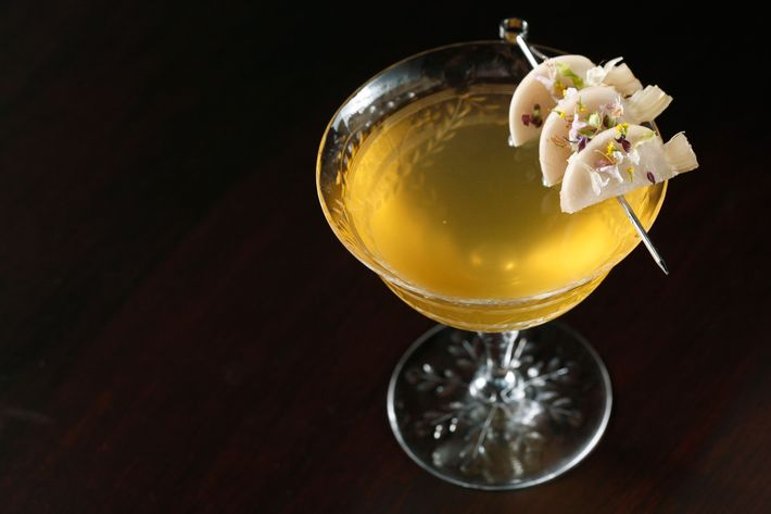 With an expanded bar program, the restaurant now offers drinks like this gin-and-turnip cocktail.