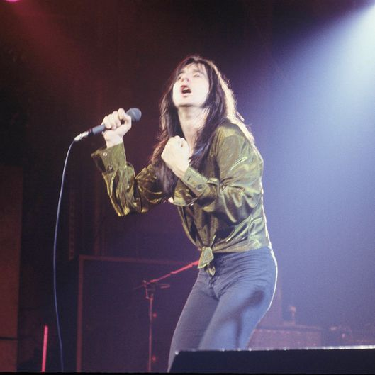 Steve Perry of Journey performs on stage in New York in 1979.
