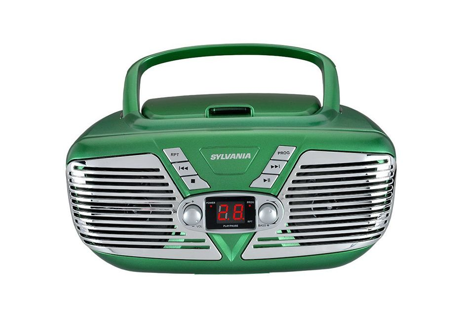 Sylvania Portable CD Boombox With AM/FM Radio, Retro Style (Green)
