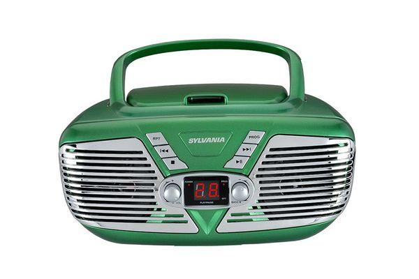Sylvania Portable CD Boombox With AM/FM Radio, Retro Style (Green)
