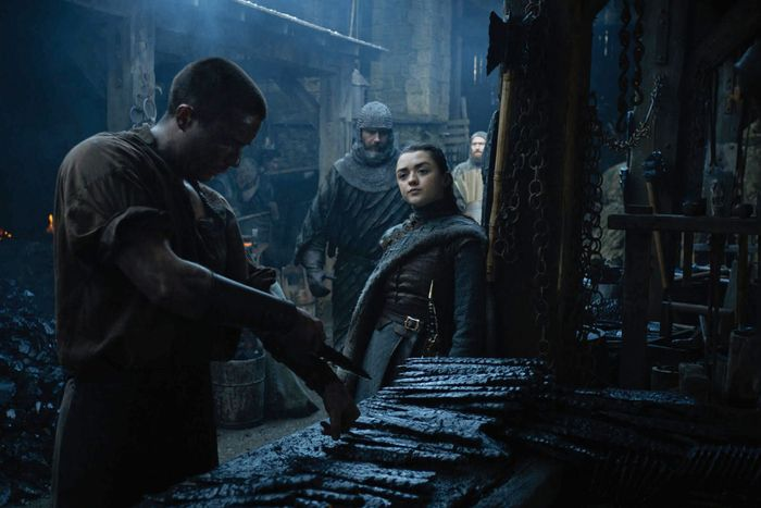 Gendry and Arya Stark on Game of Thrones.