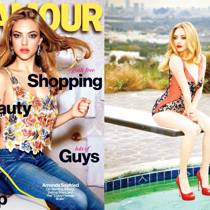 Amanda Seyfried on <em>Glamour</em>'s new cover (left) and accompanying editorial, shot by Ellen von Unwerth.