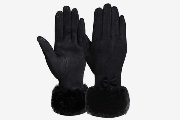 Diravo Touchscreen Winter Gloves with Bowknot Design