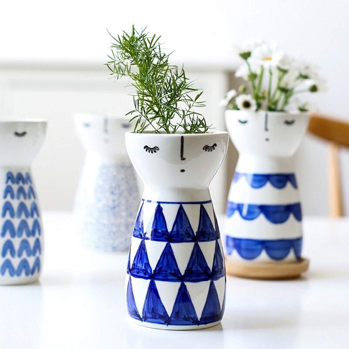 Geometric Small Flower Vases for Home D/écor 5.9 X 3.2 X 3.2 Senliart White Ceramic Vase