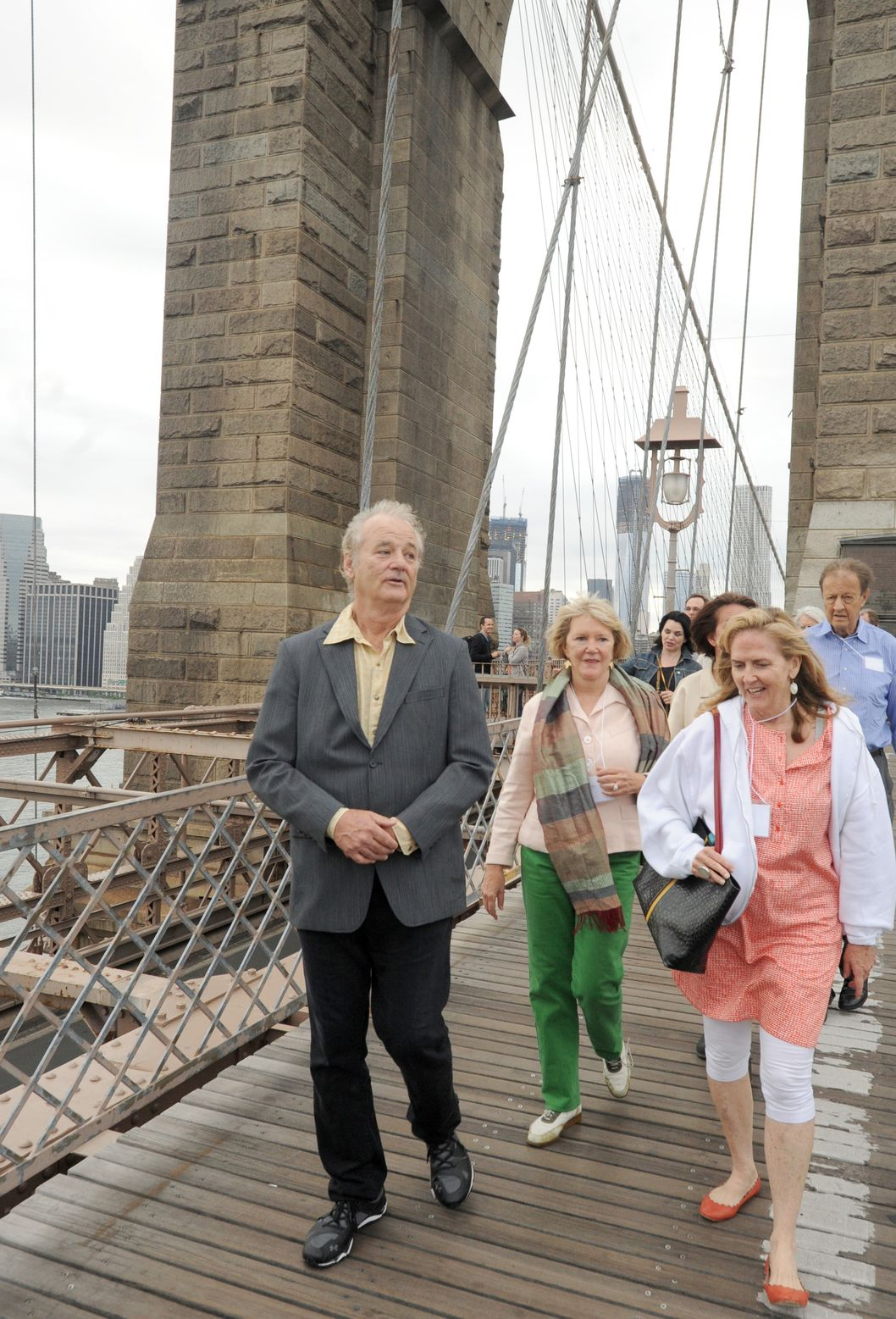 Bill Murray walks during Poets House's 17th Annual Poetry Walk Across The Brooklyn Bridge in Brooklyn, New York.  <P> Pictured: Bill Murray <P><B>Ref: SPL405194  110612  </B><BR/> Picture by: Brock Miller / Splash News<BR/> </P><P> <B>Splash News and Pictures</B><BR/> Los Angeles:	310-821-2666<BR/> New York:	212-619-2666<BR/> London:	870-934-2666<BR/> photodesk@splashnews.com<BR/> </P>