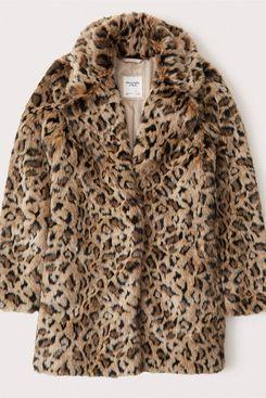 Abercrombie & Fitch Mid-Length Leopard Coat