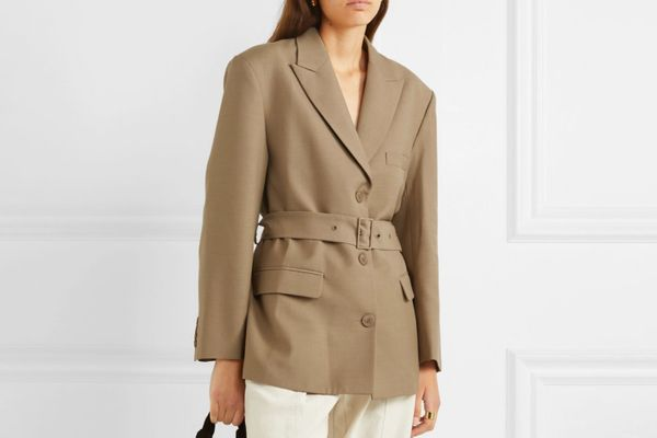 Low Belted Wool-Blend Blazer