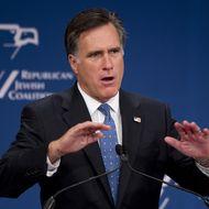 Republican presidential hopeful Mitt Romney speaks.