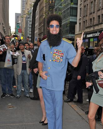 Sacha Baron Cohen as The Dictator, Admiral General Shabazz Aladeen on May 06, 2012 in New York City.