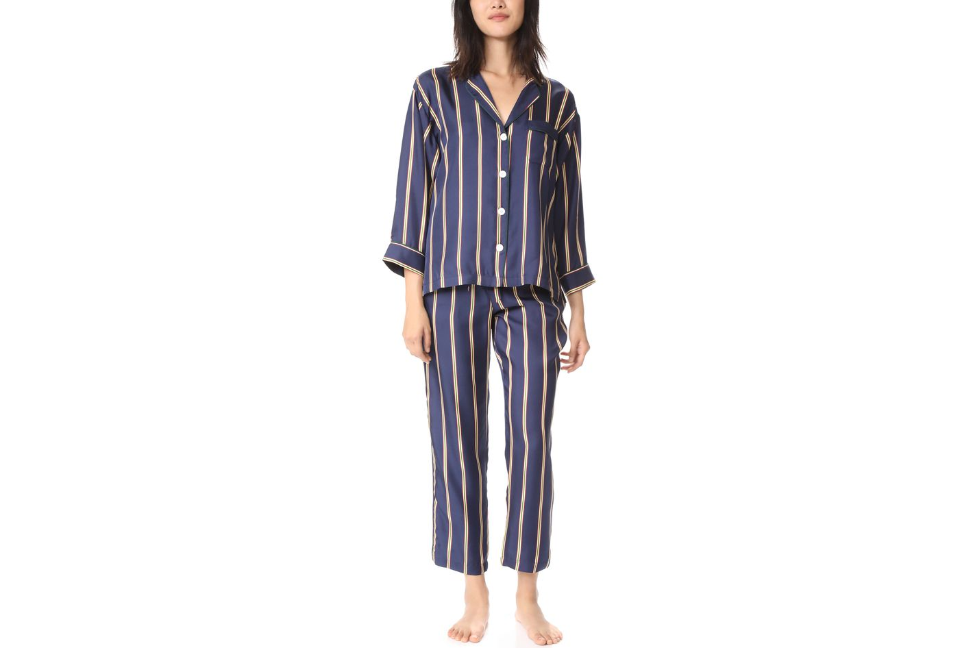 a5d4b231c4 Sleepy Jones Silk Marina Pajama Shirt