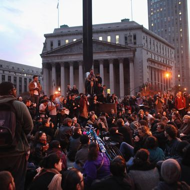 NEW YORK, NY - NOVEMBER 15:  Occupy Wall Street protesters regroup in Foley Square after New York City police in riot gear removed the protesters from Zuccotti Park early on November 15, 2011. The evacuation followed similar moves in Oakland, California, and Portland, Oregon. Hundreds of protesters, who rallied against inequality in America, have slept in tents and under tarps since September, 17 in Zuccotti Park, which became the epicenter of the global Occupy Wall Street movement. (Photo by Spencer Platt/Getty Images)