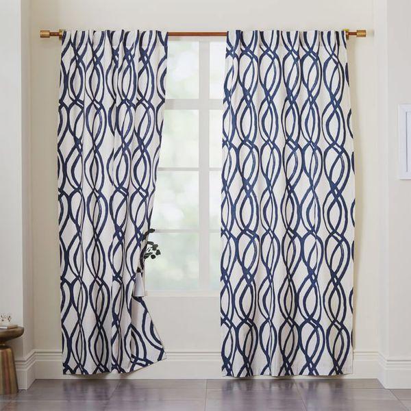 Cotton Canvas Scribble Lattice Curtains (Set Of 2)