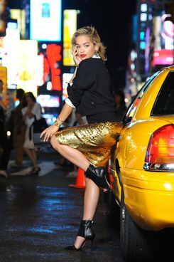 "British singer Rita Ora  is seen at a Photo Shoot in ""Times Square""on July 30, 2013 in New York City."
