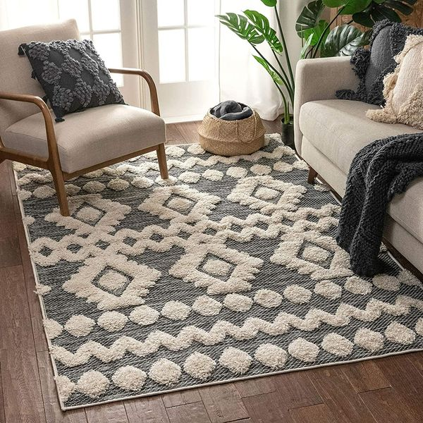 Well Woven Cenar Grey Flat-Weave Hi-Low Pile Area Rug