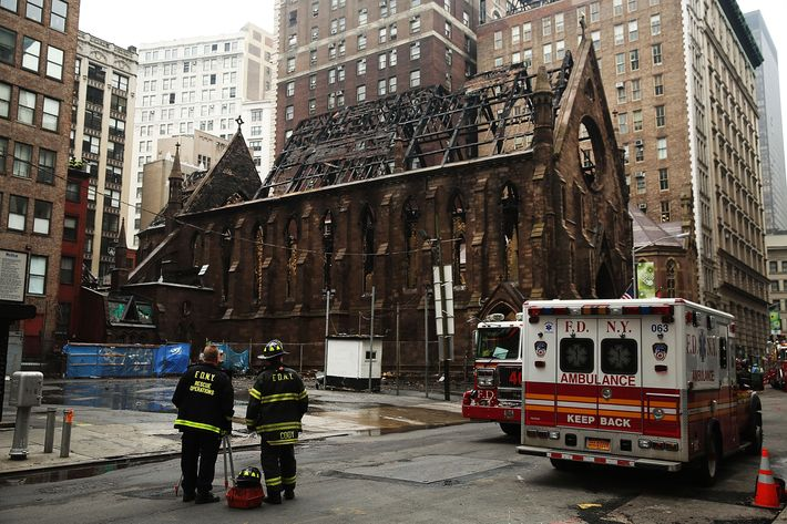 Massive Fire Destroys Historic New York City Church